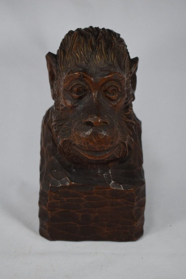 Escultura Entalhe Macaco Origem Africana