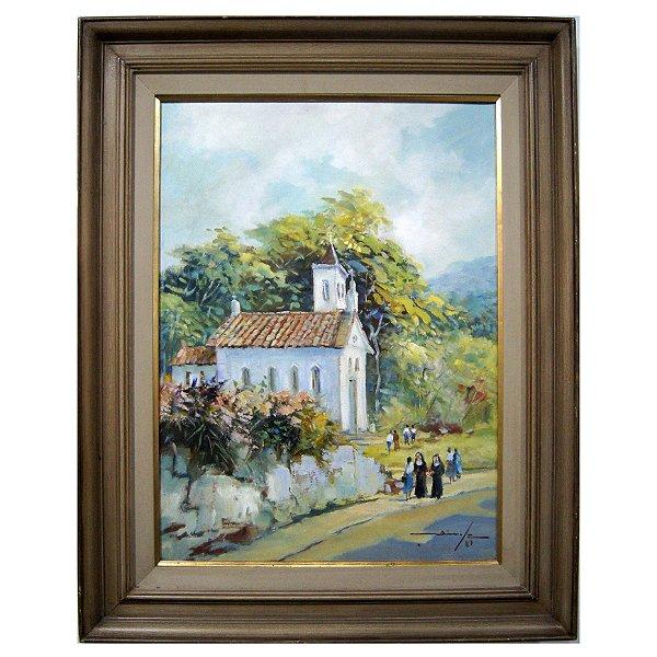 Quadro Pintura A Óleo Igreja - Dinyz Domingos