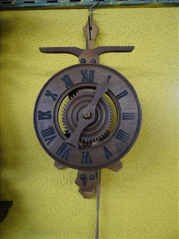 Antigo Relógio Do Tempo Em Madeira Maciça