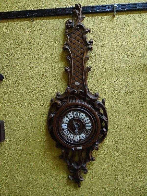Antigo Relógio De Parede Em Madeira De Cerejeira
