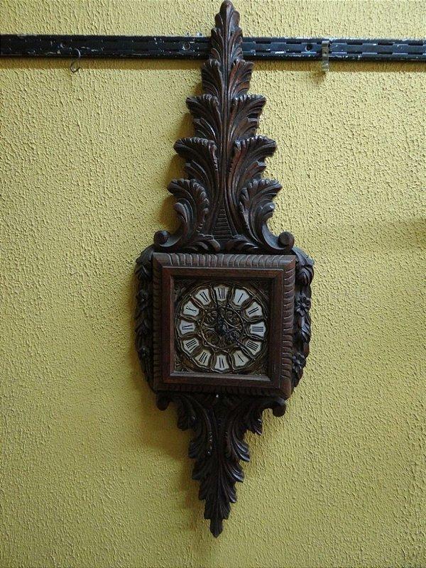 Antigo Relógio De Parede Madeira Em Cerejeira
