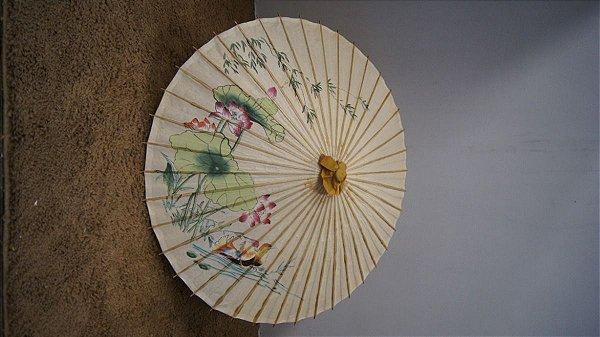 Antiga Sombrinha Japonesa Chinesa Oriental Bambu