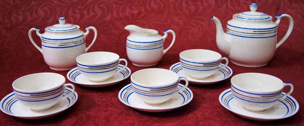 Antigo Jogo De Café Chá Porcelana Japonesa Listras Azul