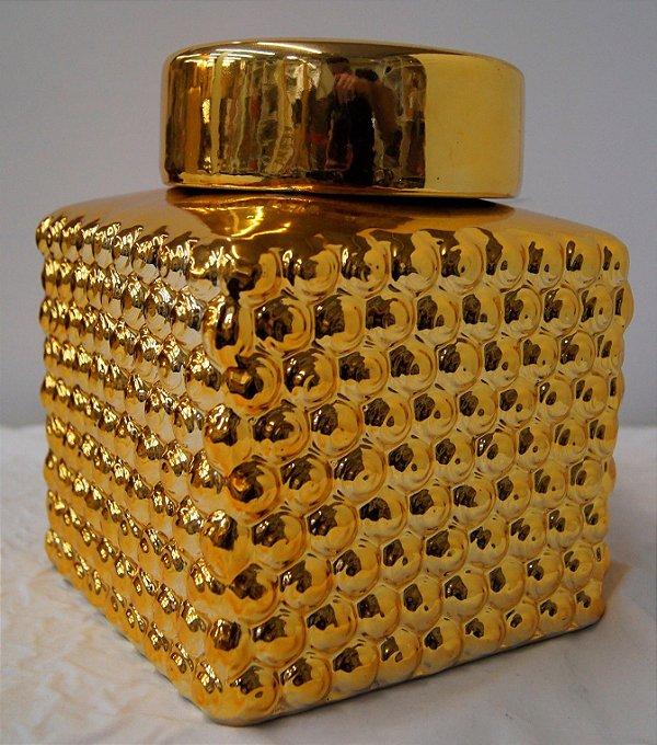 Pote de Decoração de Cerâmica Dourado