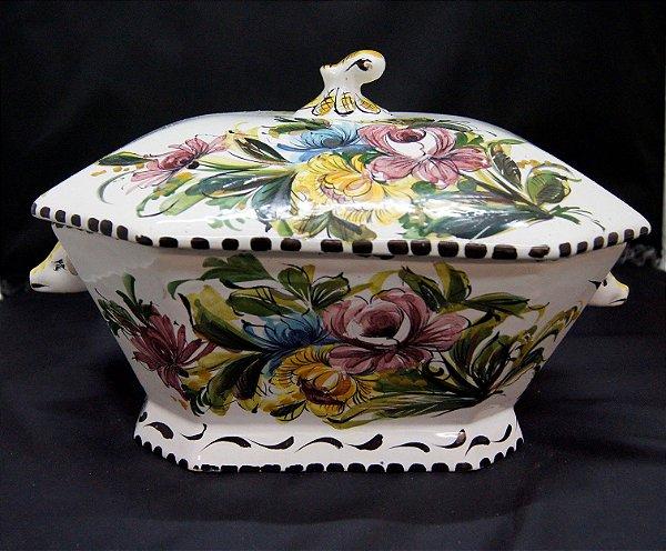 Antigo Pote Potiche De Porcelana Pintado A Mão