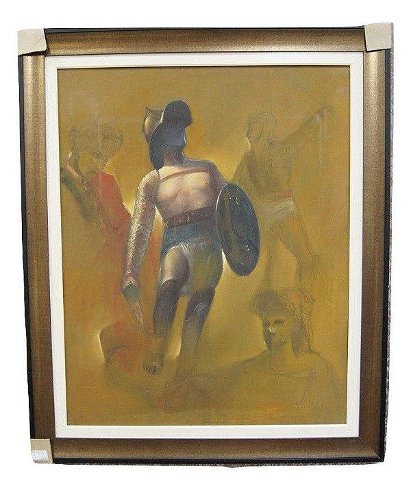 Quadro Tela Pintura a Óleo Gladiador Autor Desconhecido