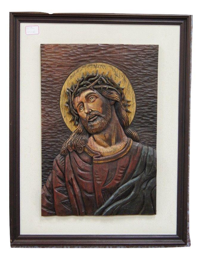 Quadro Entalhe Jesus Por J. Francisco Década de 80