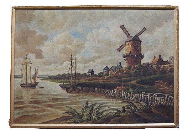 Quadro Tela Pintura a Óleo Moinho Wilk Leite 1920 Holândes
