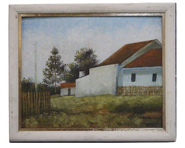 Quadro Tela Pintura a Óleo Casas Brancas Por F. Ikoma