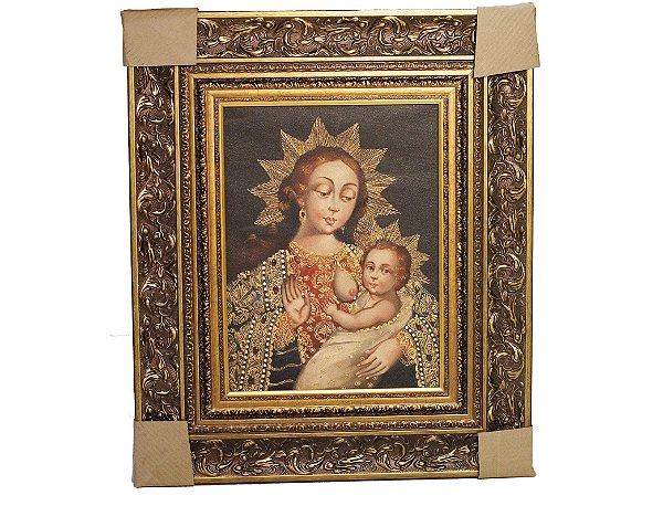 Tela Pintura a Óleo Cusquenho Nossa Senhora e Menino Jesus Cristo