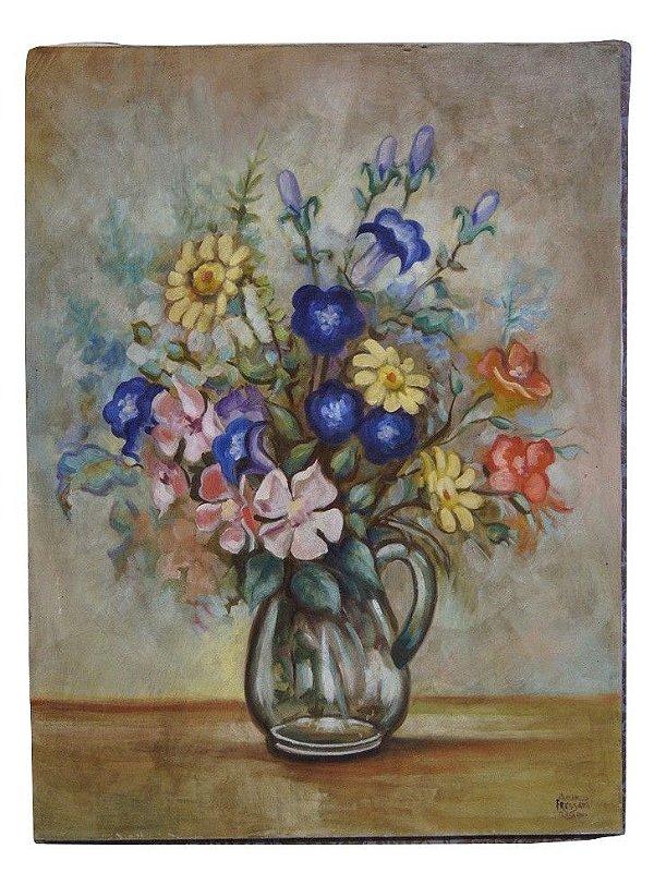 Quadro Tela Pintura a Óleo Flores Por Acir Fressato
