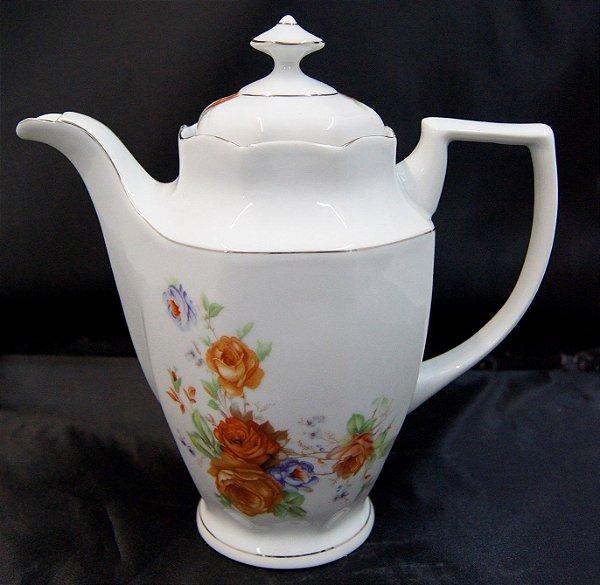 Bule Antigo de Porcelana Schmidt Flores Laranja E Roxa
