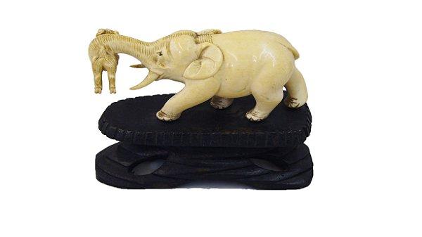 Antigo Elefante De Enfeite Marfim E Madeira