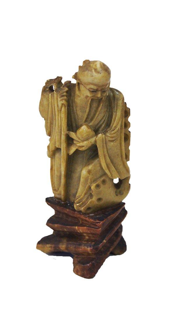 Figura Esculpida Em Pedra Sabão Chinesa Vintage 1920s