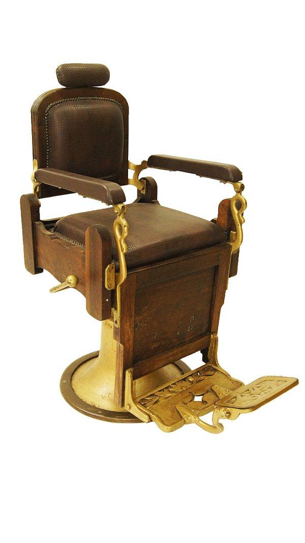 Cadeira de Barbeiro Antiga déc 1930 Madeira Imbuia Dourada