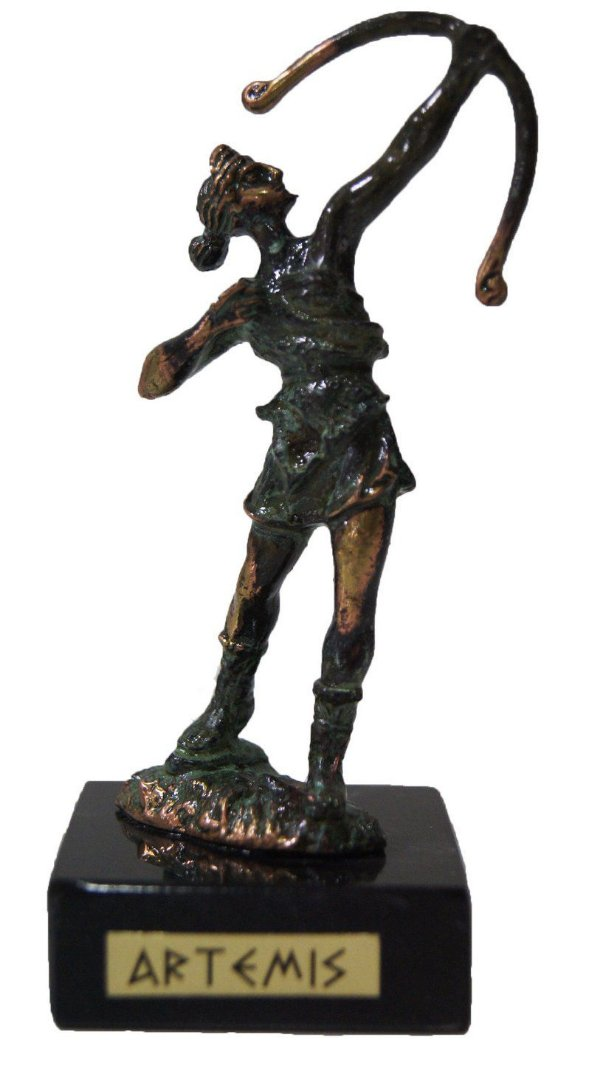 Escultura Miniatura em Bronze Deus Grego Artemis