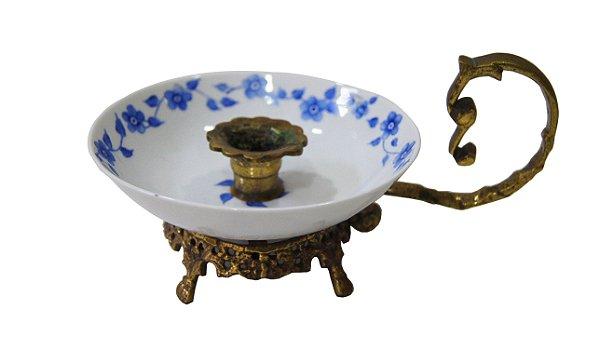 Castiçal Palmatória De Porcelana e Bronze