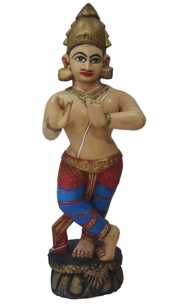 Escultura Krishna em Madeira Nobre