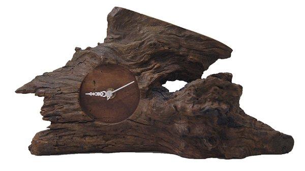 Antigo Relógio Estilo Rústico de Madeira