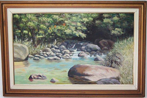 Quadro Pintura Óleo Sobre Tela Estrada da Graciosa Paraná