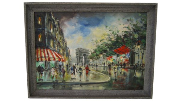 Quadro Pintura Óleo Centro Paris dec. 60