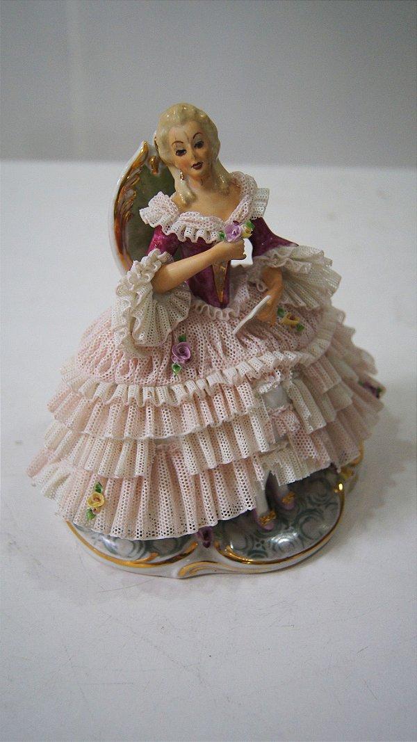 Bibelô Escultura Boneca De Porcelana Dama Rosa Inglesa