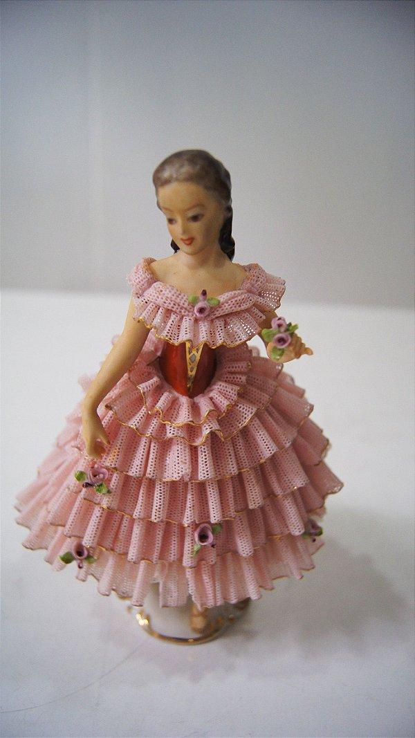 Escultura Bibelô Boneca De Porcelana Renda Rosa Inglesa