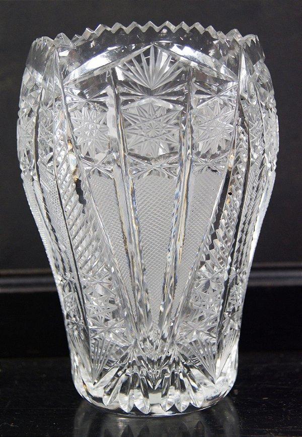 Vaso de Cristal Lapidado Á Mão Tchecoslováquia