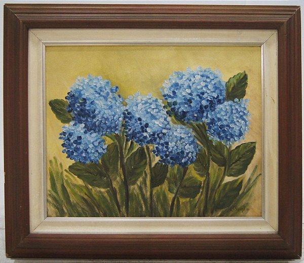 Quadro Pintura A Óleo Flores Hortência
