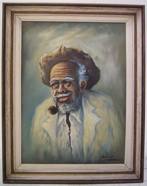 Quadro Pintura A Óleo Meister Velho Preto 73 x 90cm