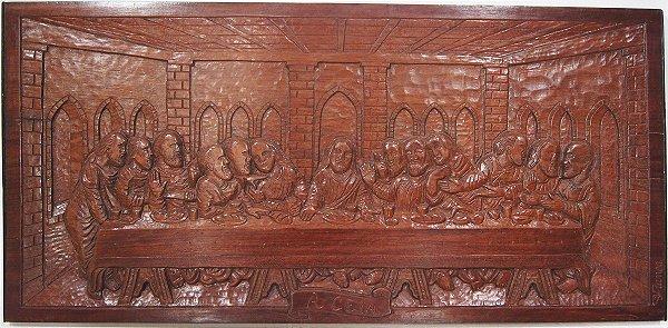 Quadro Em Madeira Santa Ceita Entalhada 100 x 50 cm