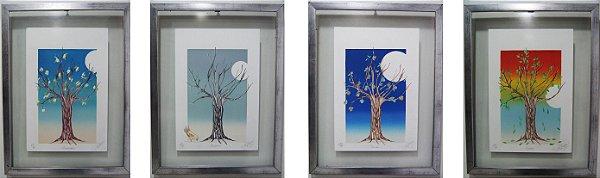 Conjunto 4 Quadros Pintura R. Yague Estações Do Ano