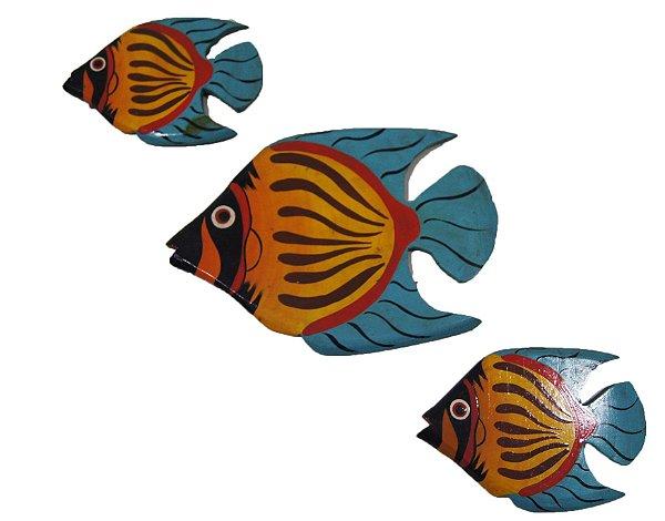 Trio de Peixe Laranja e Azul Enfeite de Parede