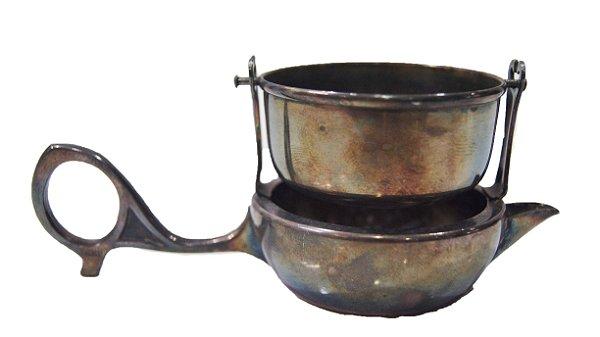 Antigo Coador De Chá Licor Banho De Prata