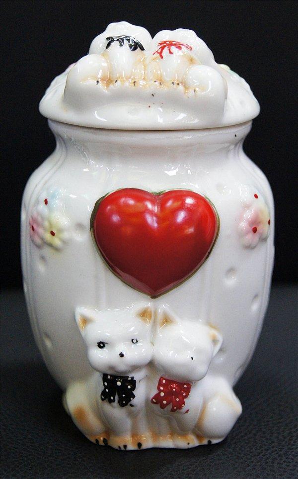 Pote Branco Porcelana Tampa Casal Gato