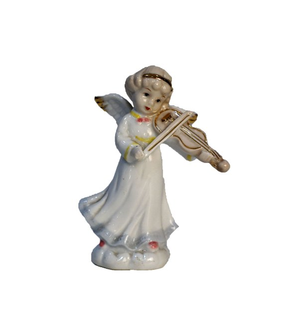 Bibelô Biscuit Porcelana Chinesa Anjo com Violino