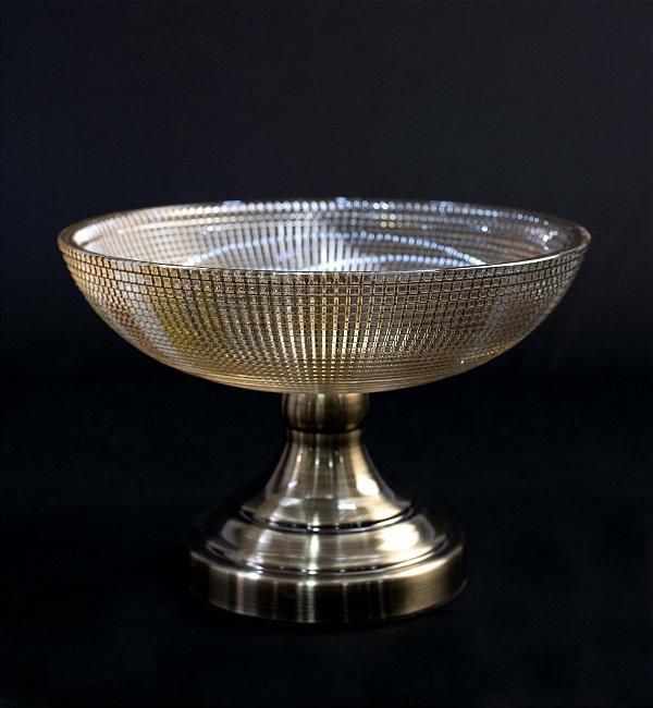 Vaso Cristal Champagne Base Metal Escovado
