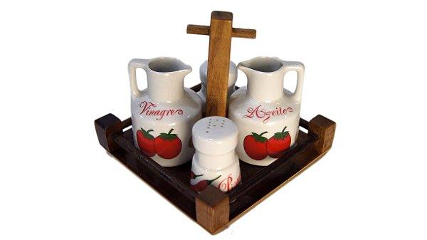 Porta Tempero em Madeira Porcelana Schmidt