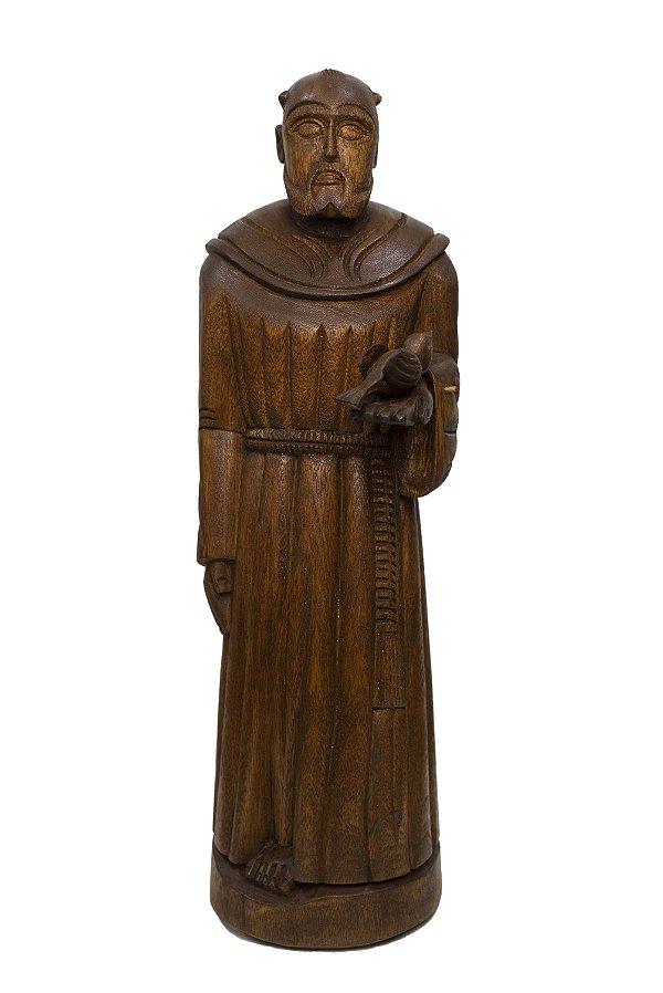 Estátua São Francisco Entalhado na Madeira