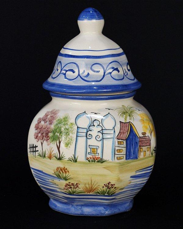 Potiche Pote De Cerâmica Pintado À Mão
