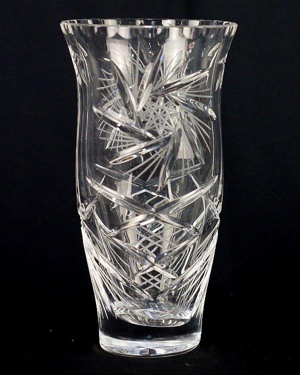 Vaso Cristal Tcheco Lapidado