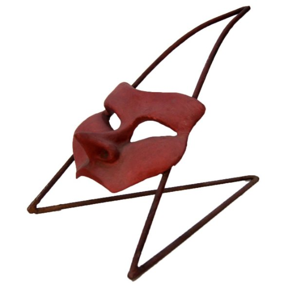 Escultura Máscara Cerâmica e Ferro Artista Luíza