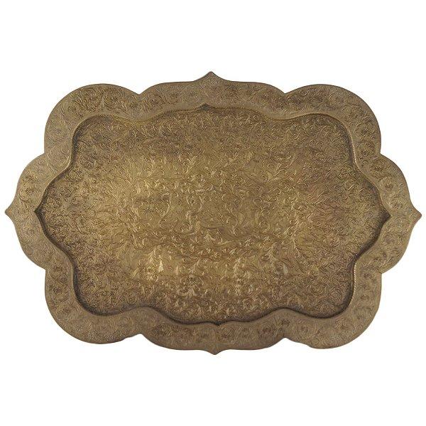 Bandeja Em Bronze Indiana Cinzelada À Mão Década De 20