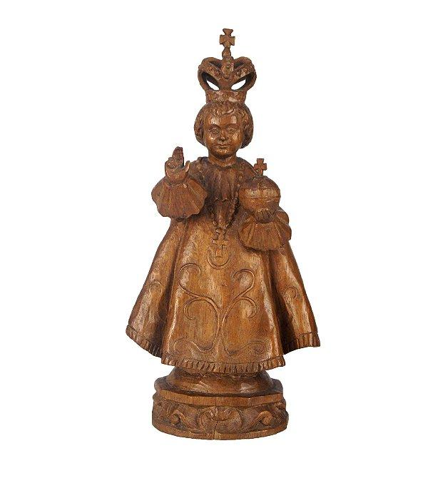 Estátua Em Madeira Menino Jesus de Praga - C. Moser