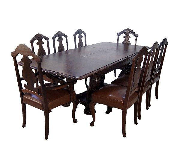 Conjunto Sala De Jantar Mesa Patas De Leão Com 8 Cadeiras