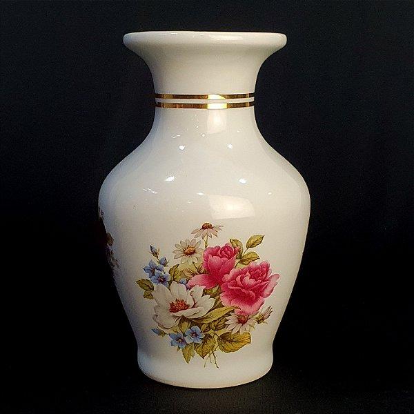 Vaso Em Porcelana Flores Filete De Ouro 17cm