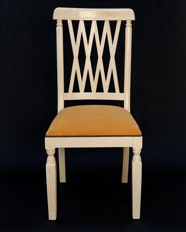 Conjunto 8 Cadeiras Para Mesa De Jantar Em Patina Branca