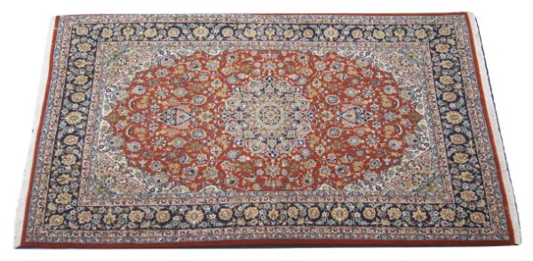 Tapete Persa Esfahan Legitimo Bordo Preto 2,00x3,43m