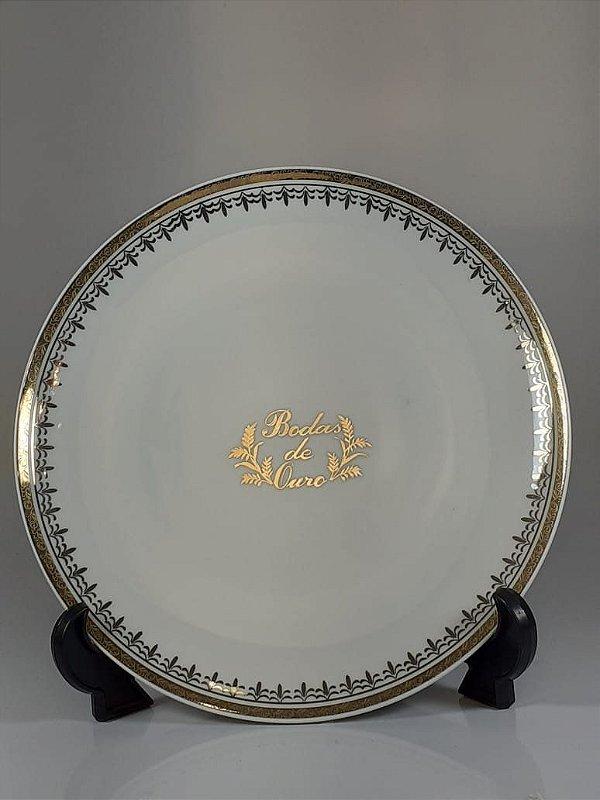 Prato em Porcelana Germer Decorado Bodas De Ouro