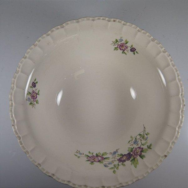 Saladeira em Porcelana Porto Ferreira Decorada em Flores